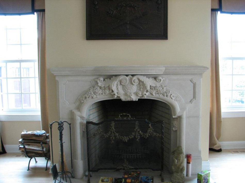 "Ceko Fireplace Original Design by Dale Johnson and Matthew Palmer 7' x 54"" x 12"" Indiana Limestone"