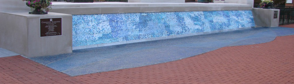 Creekside Mosaic Fountain Glass, Indiana limestone, Concrete 40' x 4' x 10'