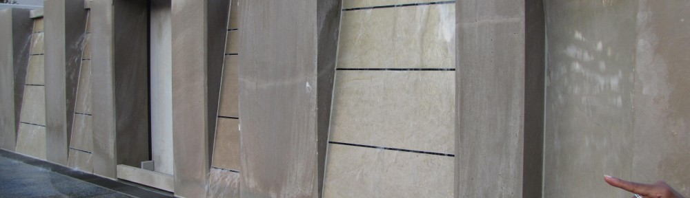 Creekside Water Wall Indiana Limestone, Glass 48' x 10' x 10'