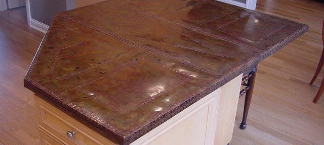 "Hatfield Island  Brass, Copper, Copper Nails, Patina 7' x 3'-6"" x 1 1/2"""