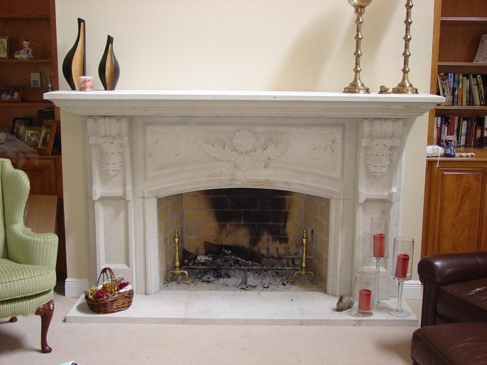 New Orleans Fireplace Old World Stone Carving