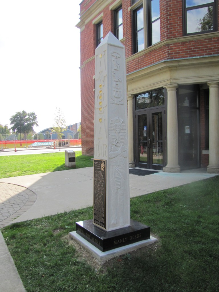 "Alpha Phi Alpha Obelisk, Hale Hall, Ohio State University Indiana Limestone, Glass, Gold Leaf, Bronze 9' x 14"" x 14"""