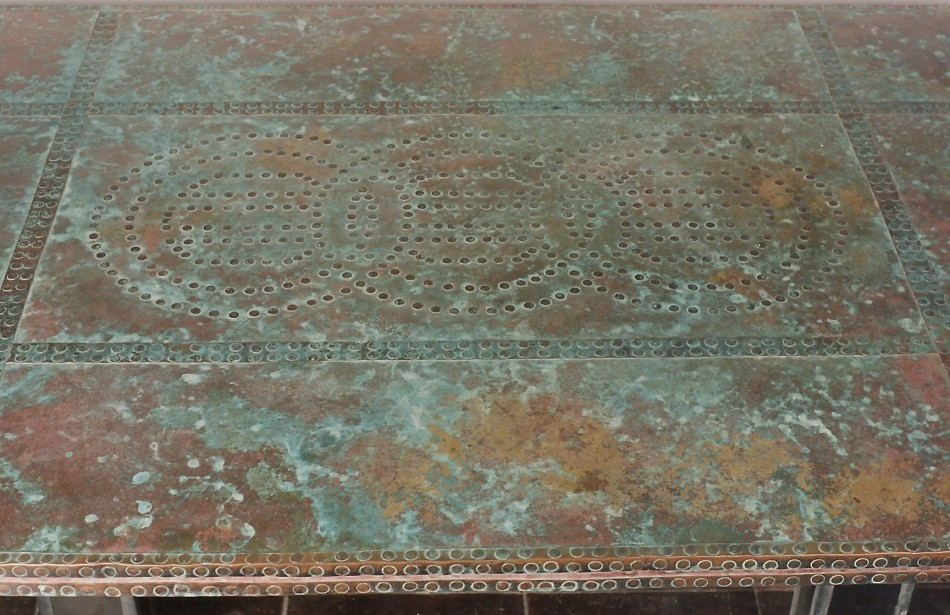 "Original Design by Dale JohnsonBronze, Copper, Walnut, Patina, Sandstone, Chiseled Pyrex, Steel40"" x 59 1'2"" x 21"""