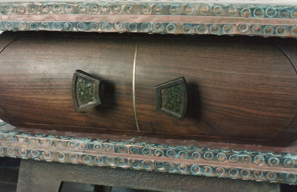 "Original Design by Dale JohnsonCopper, Bronze, Walnut, Enamel24"" x 24"" x 18"""