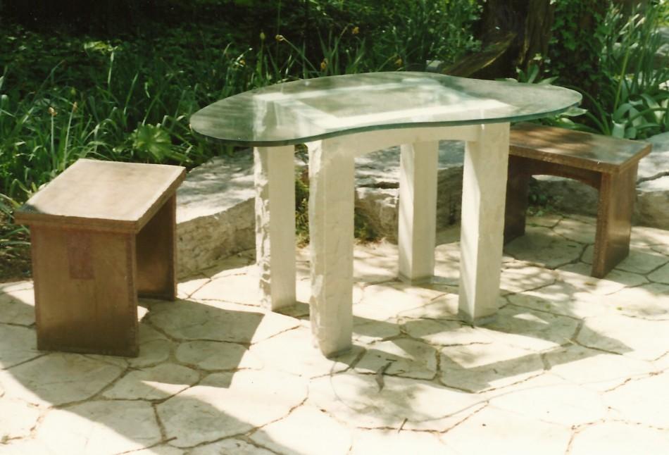 Original Design by Dale JohnsonKansas Limestone, Bronze, Copper, Patina, Glass