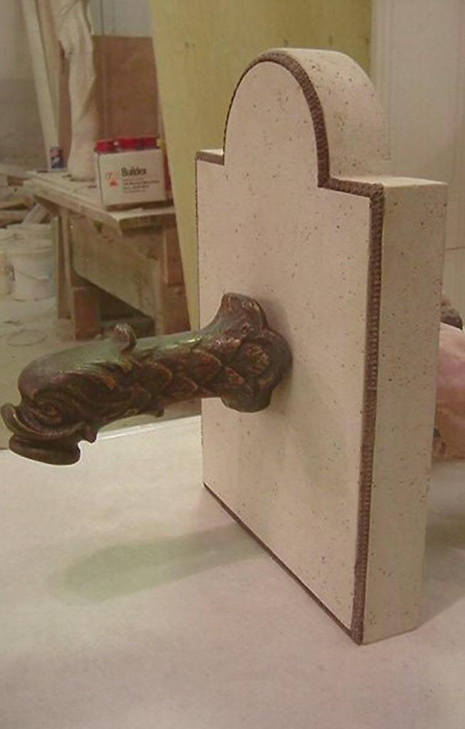 Kansas Limestone, Cast Bronze, Antique Faucet