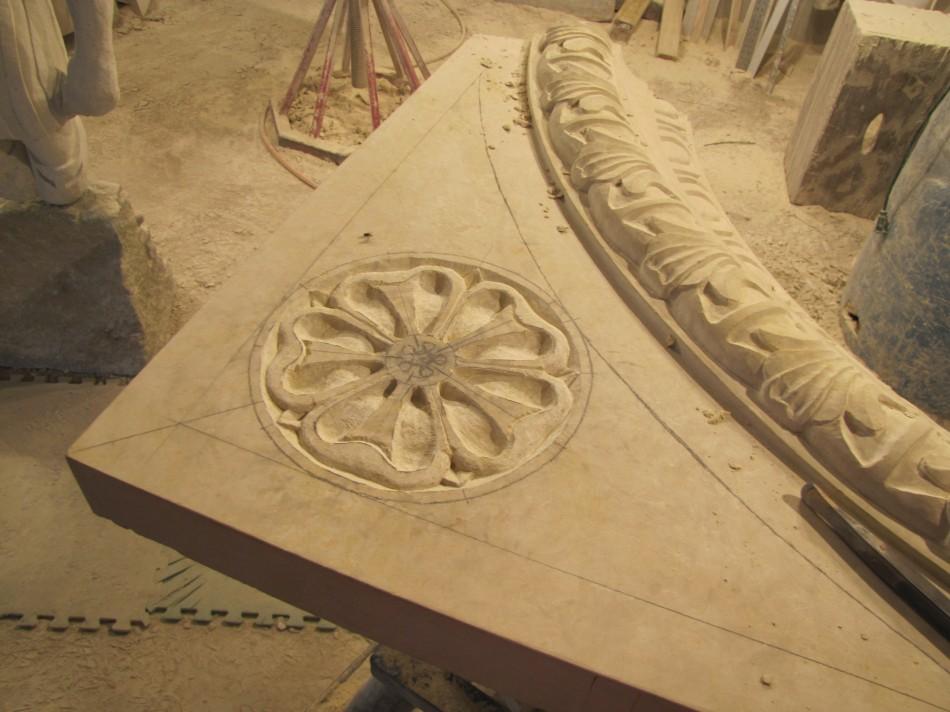 Karlsson Fireplace Mankato Limestone Design by Erik Karlsson Details carved by Dale Johnson 14' x 9' x 2'
