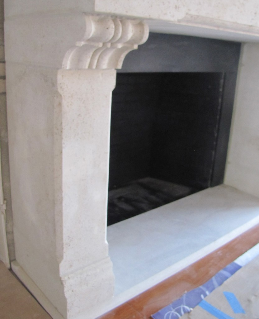 "Mathur Fireplace  Kansas Limestone, Pennsylvania Black Slate 6'-6"" x 5'-4"" x 30"""