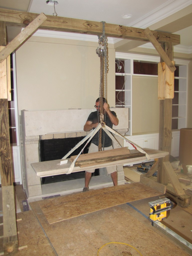 "Mathur Fireplace Kansas Limestone, Pennsylvania Black Slate 6'-6"" x 5'-4"" x 30"""