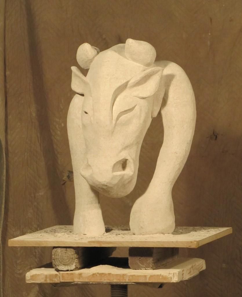 "Minotaur Indiana Limestone 16"" x 14"" x 28"""