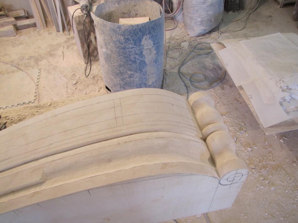 """Unverferth Fireplace Original design by Dale Johnson Texas Cordova cream Limestone 6'-6"""" x 5'-6"""" x 14"""""""