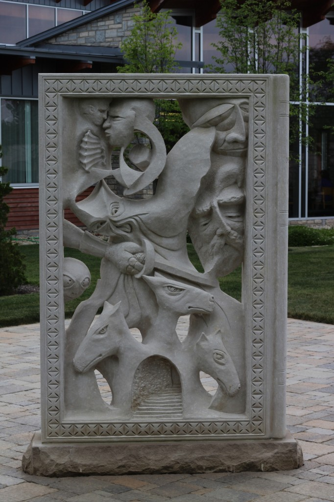 "Indiana Limestone 7'-6"" x 4'-6"" x 12"" (not including base) Lewis Center, Ohio Delaware County Library System Children's Garden"