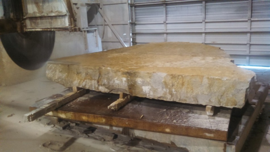 "The original slab, 12"" x 8' x 10'. Just over six thousand pounds and 280 million years old."