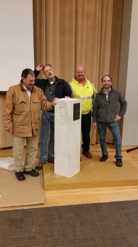 "Indiana Limestone, Bronze Plaque, 12"" x 12"" x 3' The installation crew, after we had stood the stones up for the dedication in the Maryland Historical Society museum."