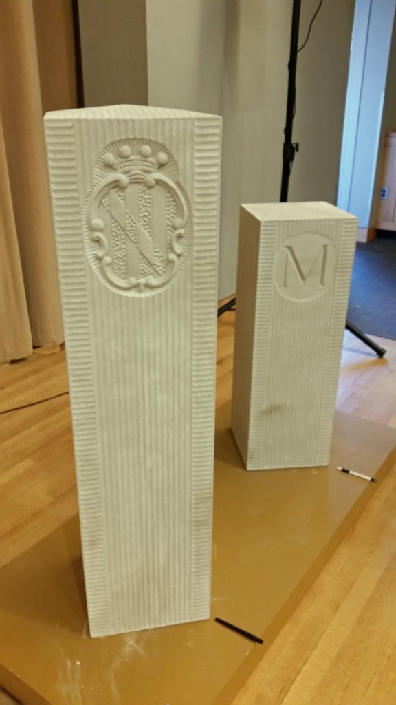 """Indiana Limestone, 12"""" x 12"""" x 3' It was an honor to carve replacements of the three hundred year old originals, carved in England and shipped over and carried overland."""